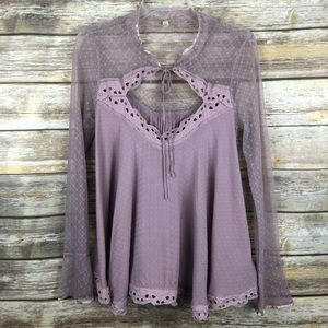 Free People Babydoll Lace Blouse Front Tie Cutout